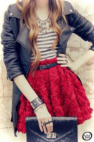 rose skirt red skirt jacket clutch skirt roses skirt roses
