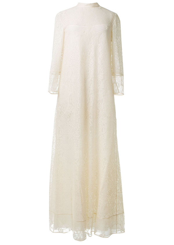 dress valentino white long lace dress