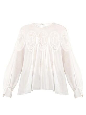 top long lace cotton white