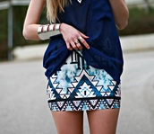 skirt,jewels,aztec skirt,blue,cute,girly,fashion,outfit,aztec,style,aztec skirt high waisted crop top,blue skirt,azteque,jupe asymétrique,jupe aztèque,jupe,jupe bleue,azt?que,summer,summer skirts,shirt,aztec print skirt