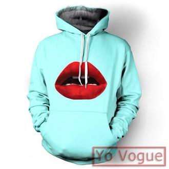 sweater sweatshirt fashion hoodie top style punk cool dope lipstick lips 3d sweatshirts sexy sweater