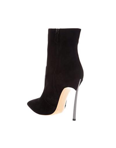 Pointed toe suede boots black high heels heel knee ankle silver