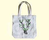 bag,tote bag,eco tote,canvas tote,deer tote bag,reindeer bag,deer horn,deer shadow,animal tote bag,animal tote