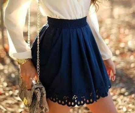 Mid waist flower hollow out short skirts