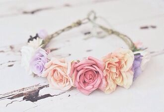 jewels headband flowers pastel nice cute roses girly hipster wedding hat accessories style fashion grouge hipster punk pink violet wonen beautiful girl vintage swag flower crown hair accessory flowerhairband flower headband floral headband summer beauty