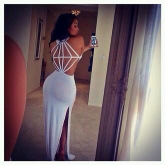 dress white dress diamond back slit dress