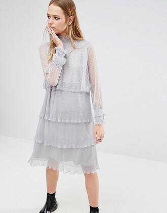 dress tiered dress asos clothes grey dress chiffon dress