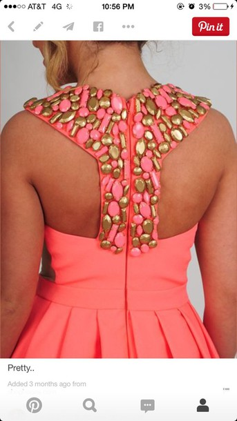 dress beaded dress salmon