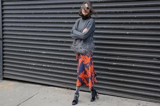 man repeller blogger sweater dress shoes sunglasses tights shirt scarf pants cardigan bag
