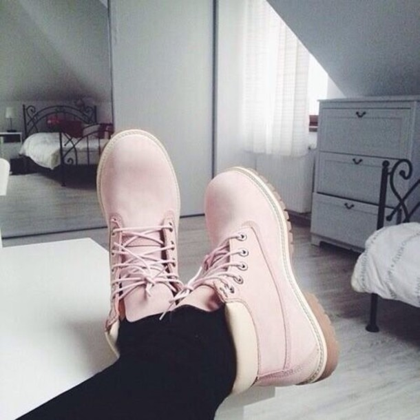 Shoes: timberlands, pink, pink shoes, amazing, white or pink, baby pink, booties, boots, leather ...