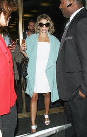 dress,white,white dress,sarah hyland,sandals,coat,shoes