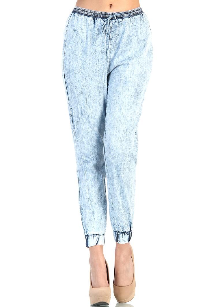 Vibrant Acid Wash Track Pants - Blue