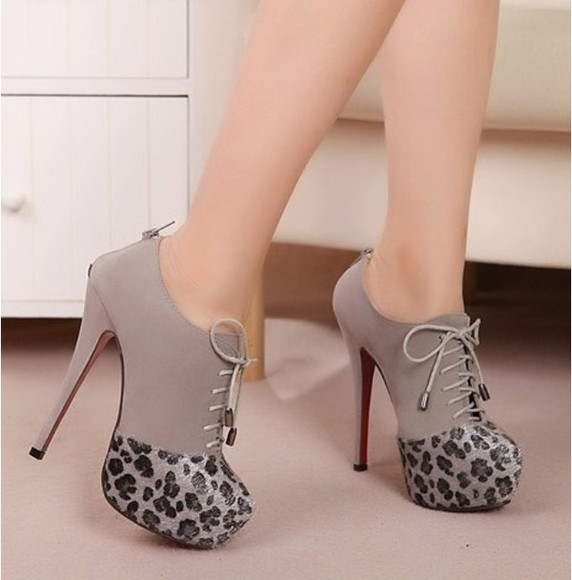 grey black shoes high heels lace up zipper in back leopard print suede ankle booties