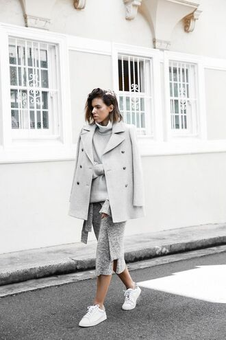 skirt knitted skirt midi skirt grey skirt sweater grey sweater coat grey coat sneakers low top sneakers white sneakers fall outfits turtleneck sweater turtleneck all grey outfit all grey everything