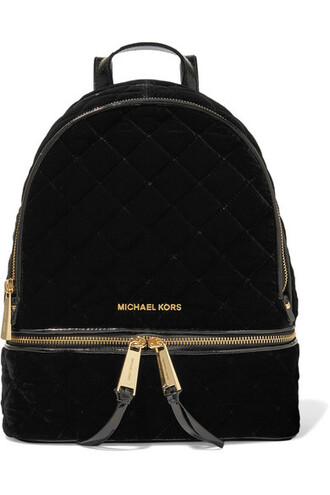 quilted backpack leather black velvet bag