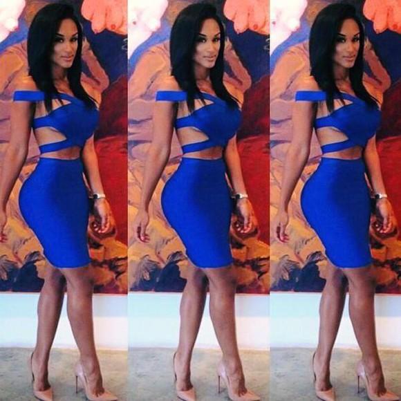bodycon dress blue dress bandage dress cut-out cut out bandage dress bandage dresses