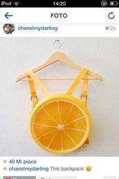 bag,backpack,orange,summer,funny,fruits,swag