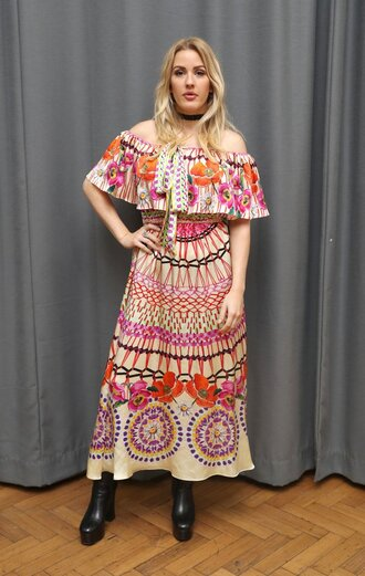 dress pastel off the shoulder boho dress ellie goulding london fashion week 2016 boots