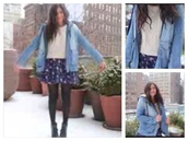 jacket,denim,denim jacket,coat,light blue,jacket coat winter cold blue fur,fur,bethany mota
