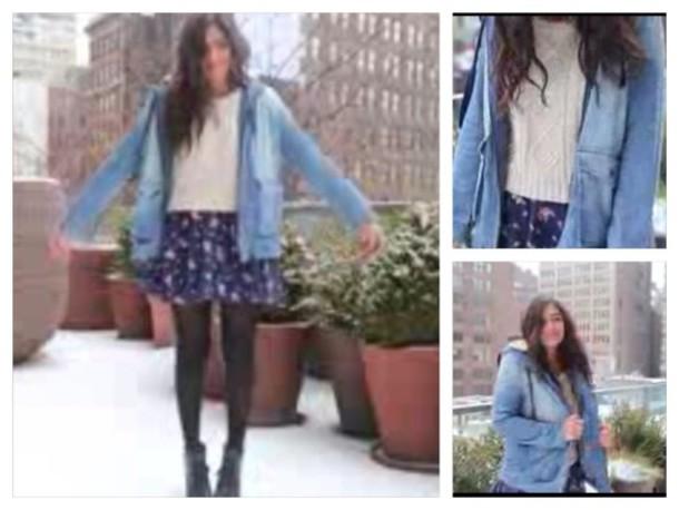 jacket denim denim jacket coat light blue jacket coat winter cold blue fur fur bethany mota bethany mota