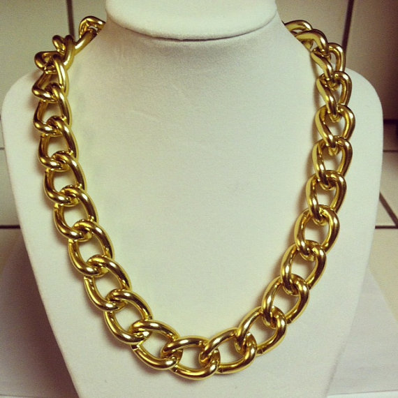Gold chain necklace chunky gold chain link by mcintoshjewelry