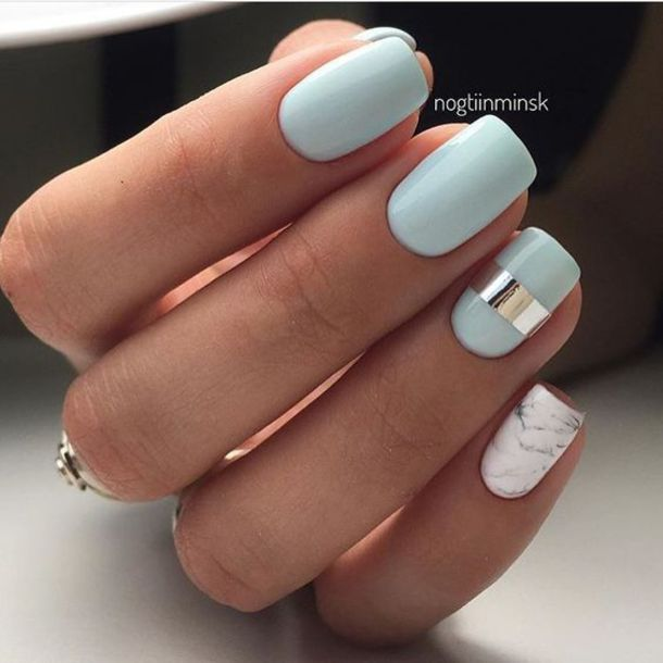 Blue Nail Polish One Finger: Nail Accessories, Tumblr, Blue, Baby Blue, Light Blue