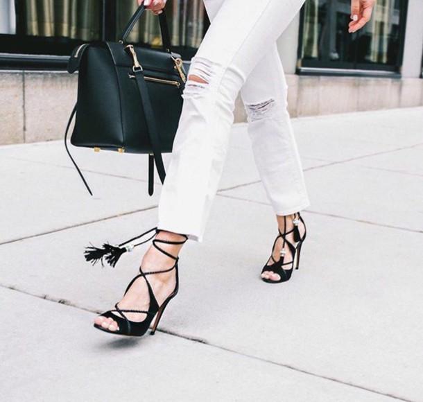 a1e5dd000f7f shoes tumblr sandals sandal heels high heel sandals black sandals lace up  sandals jeans white jeans