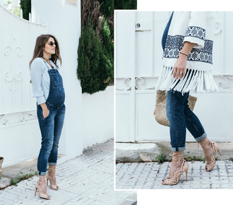 seams for a desire blogger shoes bag sunglasses jewels denim overalls overalls high heel pumps spring outfits maternity