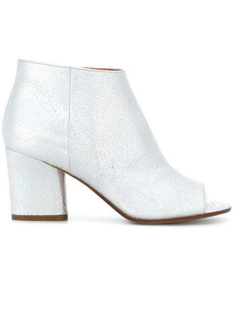 MAISON MARGIELA open women ankle boots leather grey metallic shoes