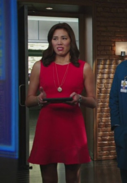 dress,red,bones tv show,angela montenegro,michaela conlin,sleeveless
