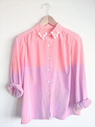 shirt pearl pink purple tie dye dip dyed blouse rose cute lovely vintage white classy belt coat jacket botton up ombre violet girly pastel pastel pink ombre shirt hipster collar tumblr indie pretty colorful long sleeves pink shirt tumblr outfit top
