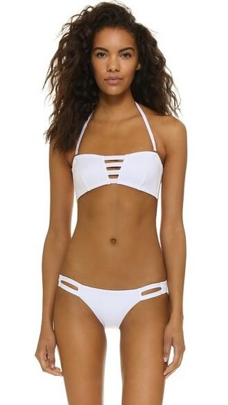 bikini bikini top bandeau bikini white swimwear