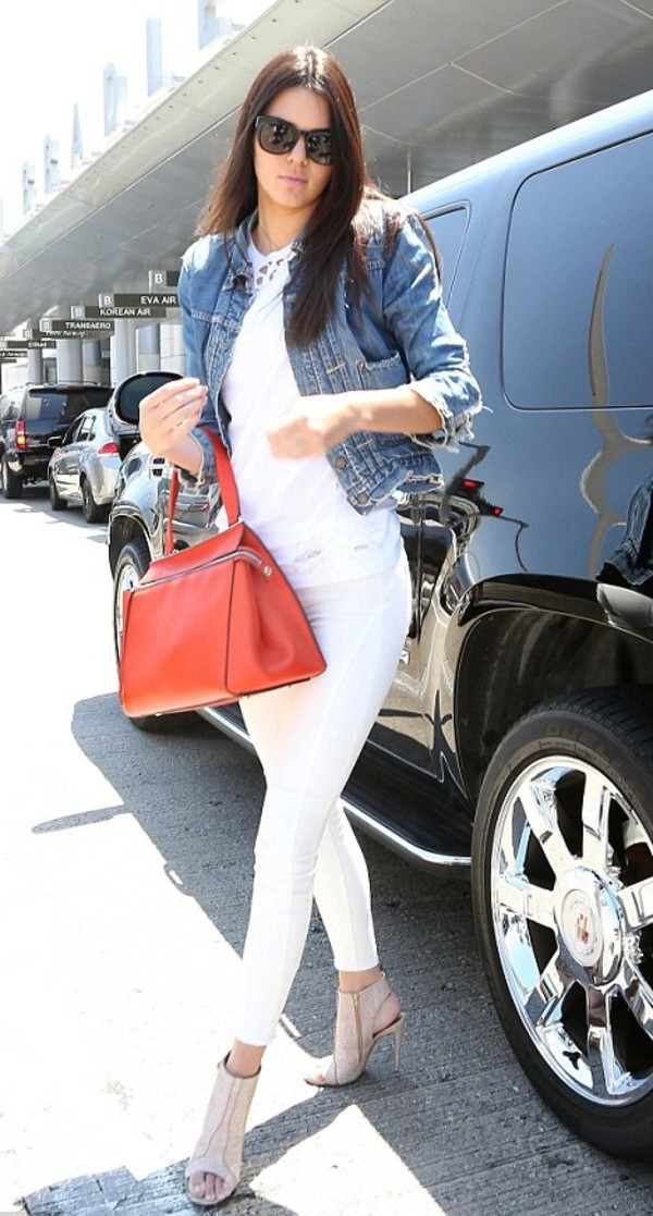 jeans shoes sandals white bag kendall jenner top