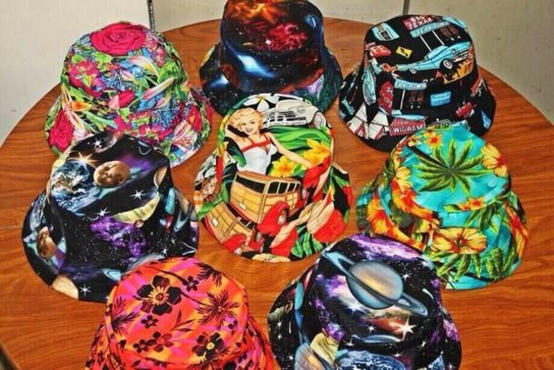 27cf9bcd00d hat bucket hats. colorful indie vintage spring bucket hat fisherman hat  galaxy print floral flowers