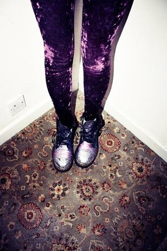 tights purple velvet crushed velvet grunge grunge shoes glitter glitter boots docmartens dr marten boots