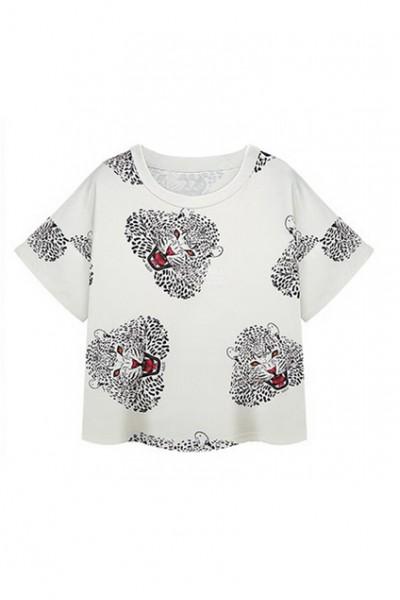 KCLOTH Leopard Print White Mid-riff T-shirt