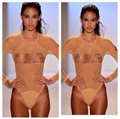 swimwear,model,one piece,sheer,summer,beach,pool,runway,Minimale Animale,see through,sexy,transparent,nude,glamour,fashion,beige swimwear