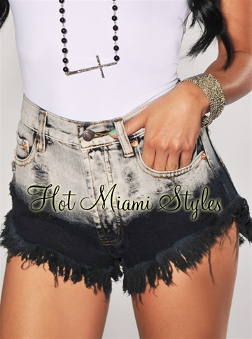 Black Ombre High-Waist Ultra-Mini Shorts