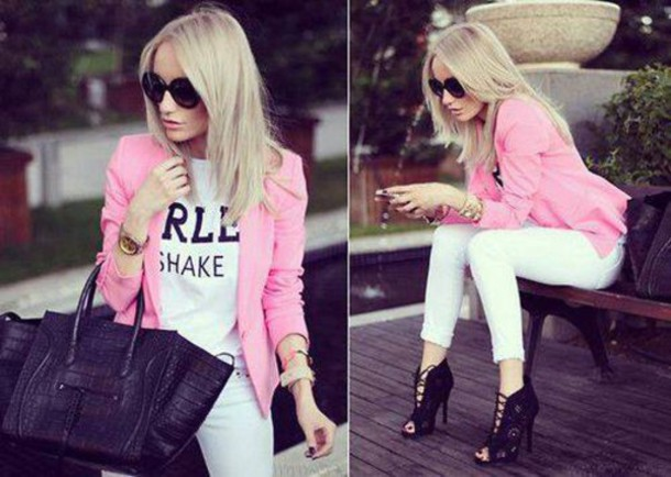 jacket pink t-shirt trendy shoes black white bag sexy swag t-shirt jeans