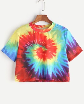 top cropped girly colorful tie dye tie dye shirt tie dye top crop tops crop