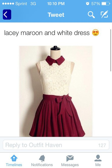 dress white dress bows lace dress vintage cute dress burgundy