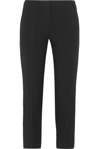 pants cropped black silk wool satin