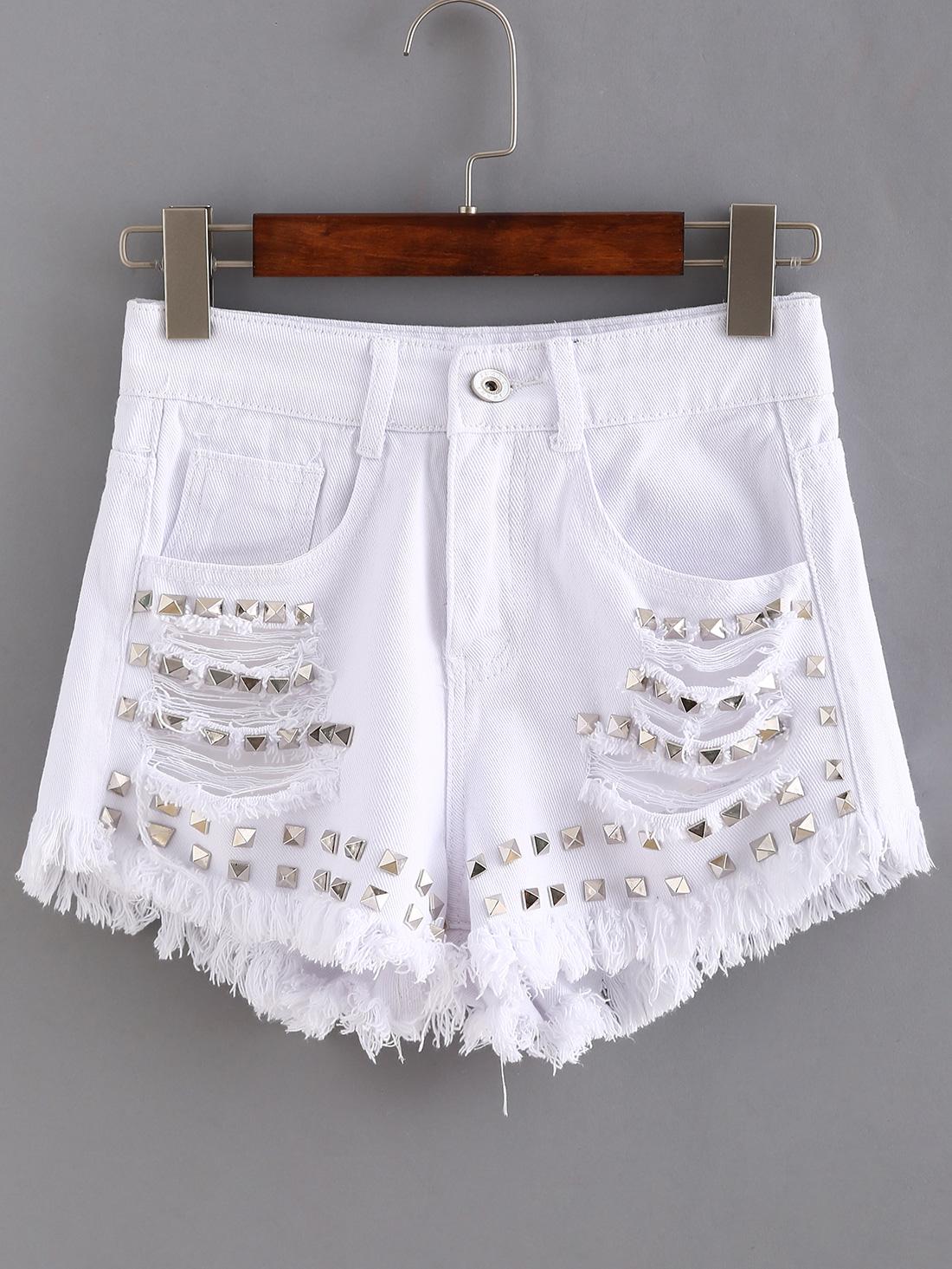 Ripped Studded White Denim Shorts