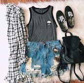 shirt,tank top,singlet,grunge,fashion,summer,alien shirt,aliens grunge,tumblr,tumblr outfit,vans,sunglasses,ripped shorts,flannel shirt,backpack,pants