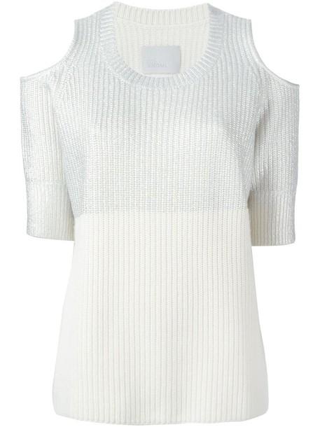 Zoe Jordan sweater cut-out women wool grey metallic