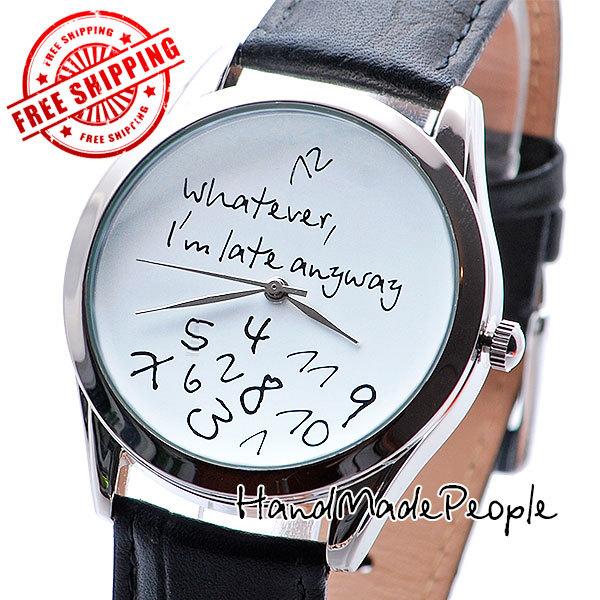 Regarder le Style Design inhabituel, tout ce que je suis en retard de toute façon montre-bracelet (blanc), montres, montre de poignet en cuir dames hommes montre - livraison gratuite
