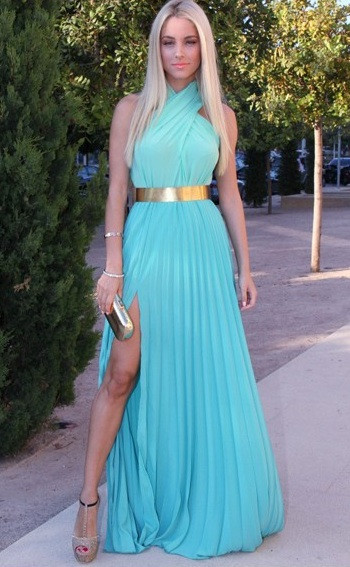 """greek holiday"" long pleated blue maxi dress – glamzelle"
