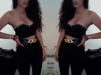 blouse crop tops studded stud studs black hipster goth belt