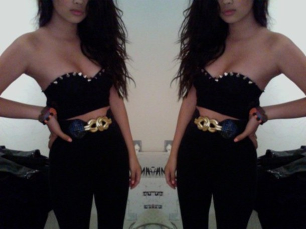 blouse crop tops studded stud studs black hipster goth goth belt