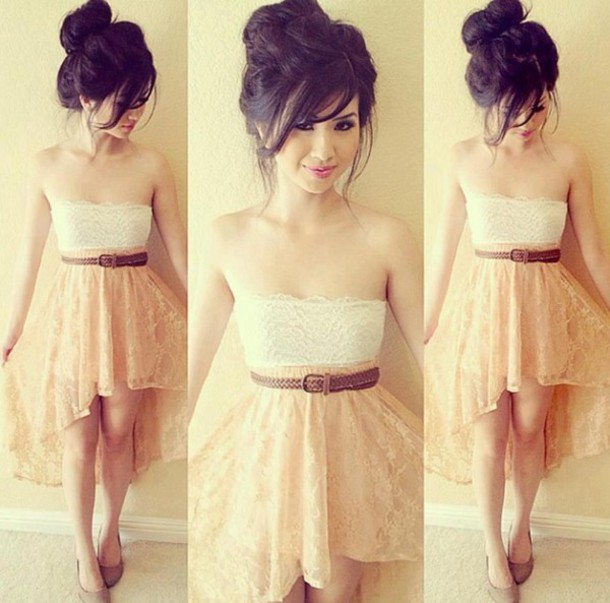 skirt lace high low lace skirt high low skirt dress lace dress belt waist belt white and beige beige dress brown belt tank top bustier plunge neckline white ivory nude cute sweet pink pretty dress style dope tank top lace dress creamskirt brownbelt clothes white top